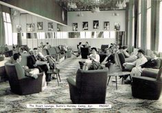"""""""The Stuart Lounge"""" at Butlin's Ayr Holiday Camp, The camp opened in but had seen wartime use by The Admiralty. A railway station served the camp from Butlins Holidays, British Holidays, Camping Holiday, Old Postcards, Vintage Holiday, Scotland, Camps, Photo Wall, Memories"""