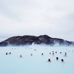 Blue Lagoon, Iceland (The water is 38-40°C so very hot, and a warm, romantic, cozy steam covers the whole place)