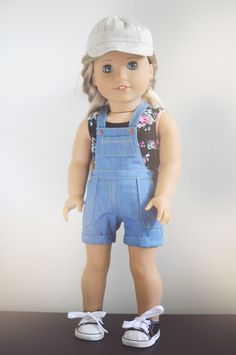 Hat by Piper and Phoebe Tank by QTΠ Doll Clothing Overalls by Sparrow and Wren #americangirldoll