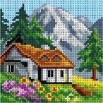 House and mountains cross stitch. Cross Stitch House, Cross Stitch Tree, Cross Stitch Flowers, Cross Stitch Kits, Cross Stitch Designs, Cross Stitch Embroidery, Cross Stitch Patterns, Crochet Sweater Design, Broderie Simple