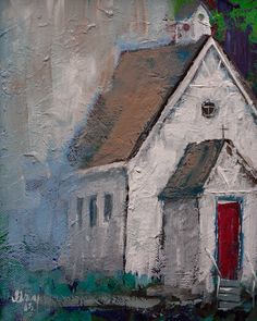 White Church Red Door Art Giclee Print of ORIGINAL Christian PAINTING on Stretched CANVAS Ready to H Painting, Art, Kunst, Gcse Art, Sanat