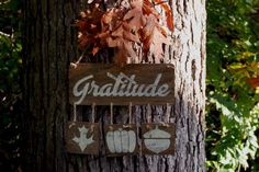 Make a reclaimed wood look wall hanging that features the word gratitude. This wall decor is perfect for autumn and the Thanksgiving holiday season.