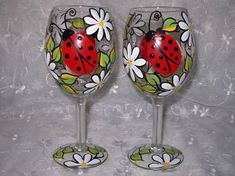 Lady Bug and Daisy Hand Painted Wine Glass by BedOfRosesBoutique