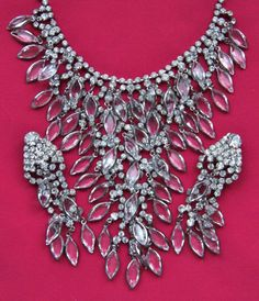 SCHIAPARELLI RUNWAY COUTURE BEZEL SET GLASS RHINESTONE NECKLACE EARRINGS VTG SET