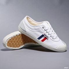 Backyard Footwear - Tivoli White/Red-Blue retro stripe.  Fresh, clean, Scandinavian design.  Update your canvas sneakers this season and stand out from the crowd.