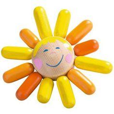 Haba 3743 - Drewniana Grzechotka Gryzak Słońce z Dzwoneczkiem dla niemowlaków od 6 miesięcy