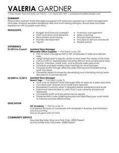 assistant store manager retail resume example contemporary 1 - Resume Examples For Assistant Manager
