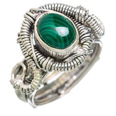 Malachite 925 Sterling Silver Ring Size 8.25 RING767042