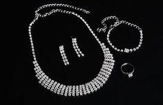Silver-Plated-Rhinestone-Necklace-Bracelet-Earrings-Ring-Wedding-Jewelry-Set