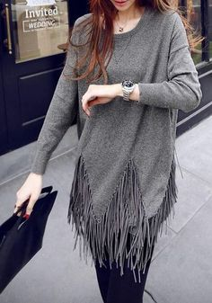 Tassel Fringe Long-Sleeved Top