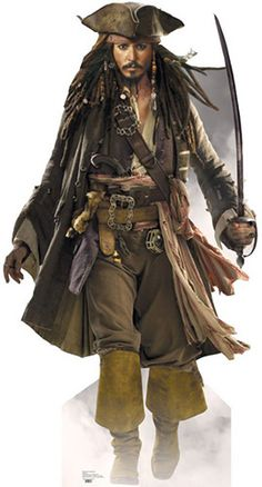 Capt Jack Sparrow - Sword - Johnny Depp - Pirates of the Caribbean Lifesize Cardboard Cutout