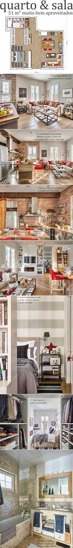 Quarto & sala, 51 m²