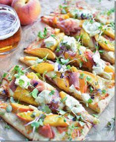 Prosciutto Flatbread with IPA-Caramelized Peaches (serves 4, 25 mins: 1/2 C Belgian-style IPA beer, 1/4 C + 2 T unsalted butter, 3 ripe peaches, 1/4 C light brown sugar, 6 pieces flatbread (or pizza dough, naan or pita bread), 2 C mozzarella cheese, 4 oz thinly sliced prosciutto, 1/2 C ricotta cheese, and 1/2 C micro greens for garnish)