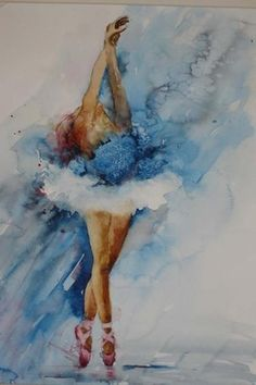 So delicate and ethereal!  Ballet Dancer, water color by Annette Price