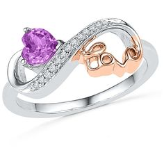 1/20 CT.T.W White Diamond & Amethyst Heart & Love Infinity Ring in Sterling Silver over 10K Rose Gold-