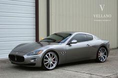 Silver Maserati Grand Turismo with 22 inch Vellano rims