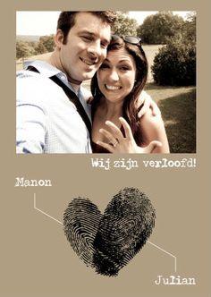 Verlovingskaart vingerafdrukken - Trouwkaarten - Kaartje2go