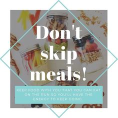 We understand that there are days where we are so busy that we can forget to eat or don't have the time or may think that by eating fewer meals that we'll take in less calories and lose weight. However, skipping meals is UNHEALTHY! It may actually encourage your body to gain weight instead of losing weight, skipping meals can slow down your metabolism. We advise you to adopt healthier eating patterns, bring healthy on-the-go snacks and of course incorporate more physical activity rather than… Weight Gain, Losing Weight, On The Go Snacks, Physical Activities, Metabolism, Forget, Healthy Eating, Meals, Canning