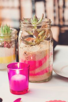 mix natural sand with sand colored to your wedding theme for unique potted plants that double as favors // photo by AngelaReneePhoto.com