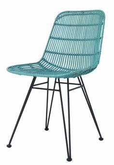 HK-living Cena de la silla de metal / rattan, verde mar, 80x44x57cm