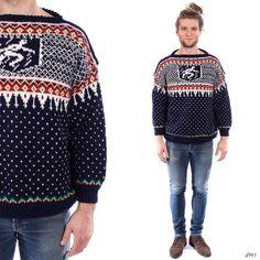 Mens NORDIC Sweater . Vintage Hand Knit Scandinavian Jumper Novelty Knit Pullover Ski Cardigan Thick Knit Boyfriend Gift . Medium to Large