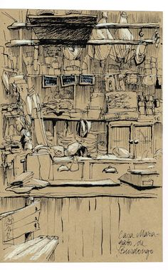Enjoy These Cityscapes In The Form Of Urban Sketches: 40 Beautiful Locations - Bored Art Sketch Painting, Drawing Sketches, Art Drawings, Artist Sketchbook, Poster S, Urban Sketchers, Sketchbook Inspiration, Art Graphique, Art Plastique