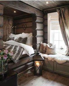 Cozy cabin hideout - Architecture and Home Decor - Bedroom - Bathroom - Kitchen And Living Room Interior Design Decorating Ideas - Home Decor Bedroom, House Design, Bedroom Decor, Cabin Interiors, Bed, Home, Winter Bedroom, Cozy House, Home Decor