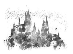 ART-PRINT-Hogwarts-Harry-Potter-illustration-10-x-8-Black-and-White-Edition