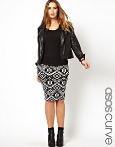 Image 1 of ASOS CURVE Pencil Skirt In Aztec Print