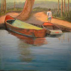 "Original oil painting ""Gone Fishing"" by Ramona Roush. rlroush.com"