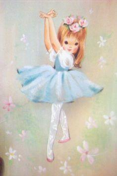 Ballerina vintage greeting card