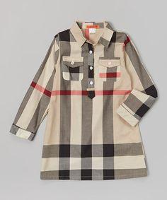 Another great find on #zulily! Beige Plaid Button-Up Tunic - Toddler & Girls #zulilyfinds