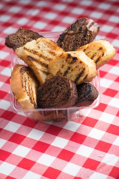 Mancini's Classic Char-Grilled Garlic Toast: Thick sliced, fresh baked Italian bread dipped in garlic butter and char grilled. @ Mancini's Al Fresco, a new food concessionaire!