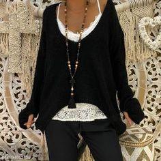 Deep V-neck Irregular Loose Women Pullover Sweater with Gloves Cotton Sweater, Pullover Sweaters, Knitting Sweaters, Winter Outfits Women, Boho Fashion, Fashion Trends, Cheap Fashion, Fashion Women, Knitted Gloves