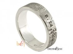 Your fingerprint on his ring and the wedding date! He won't forget you or the date :)  Sterling Silver Custom Fingerprint Wedding Band with Engraved Wedding Date - by Brent & Jess Custom Handmade Fingerprint Wedding Rings and Jewelry