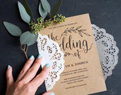 Vintage Wedding Invitation, Printable Wedding Invitation Templates, Rustic Kraft Paper Wedding Invitations, Editable Text, VW01