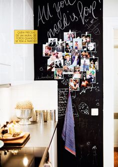 Photos and blackboard wall in kitchen -lovely!