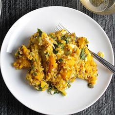 Butternut Squash And Quinoa Casserole With Butternut Squash, Quinoa, Water, Olive Oil, Onions, Garlic, Sage Leaves, Chicken Broth, Baby Spinach, Feta Cheese, Pumpkin Seeds