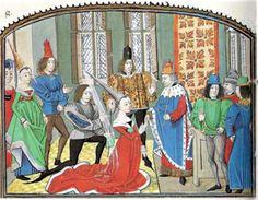 gown, doublet, hose, shoes, 1430-1500 Roman de la Violette.