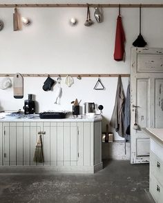 rustic kitchen with open storage