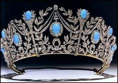 """Garrard's turquoise and diamond tiara """"Triumph of Love"""" owed by HRH Princess Margaret. It incorporates the turquoise lamps of love, laurels and lovers' knots."""