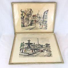 Paris Lithographs Hand Tinted Set of 2 Framed Rue Norvins Place de la Concorde    eBay