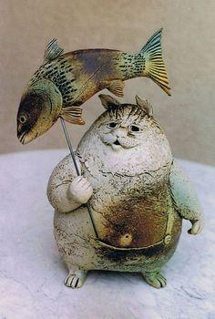 Pottery Animals, Ceramic Animals, Clay Animals, Clay Fish, Ceramic Fish, Ceramic Art, Fish Sculpture, Paperclay, Animal Heads