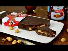 Receta de turrón de chocolate con Nutella. Receta paso a paso con video. Nutella, Muffin, Pudding, Healthy, Desserts, Christmas, Recipes, Quinoa, Food