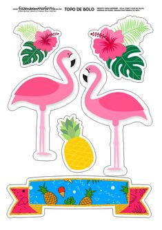 Topper de bolo Gray Things gray color car names Flamingo Party, Flamingo Craft, Flamingo Birthday, Flamingo Decor, Hawaian Party, Cake Templates, Tropical Party, Planner Stickers, Paper Flowers