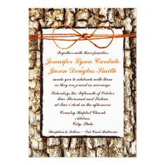 Rustic Country Camo Tree Bark Orange Twine Bow Wedding Invitations