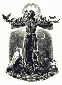 Fritz Eichenberg, Quaker Artist (1901 – 1990) St. Francis, Sermon to the Birds Wood engraving, 1952