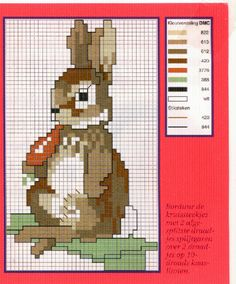 Hobby lavori femminili - ricamo - uncinetto - maglia Beatrix Potter, Baby Embroidery, Cross Stitch Embroidery, Cross Stitch Patterns, Cross Stitch Love, Cross Stitch Animals, Peter Rabbit And Friends, Benjamin Bunny, Easter Cross