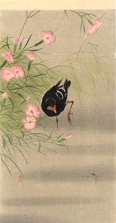 Gallinule Bird And Water Strider Ohara Koson