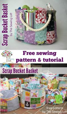 This easy to make bucket pattern is perfect for storing all your scrap bits and so much more! Make it from scraps then use it to store more scraps! Kids love them too for their toys. The Sewing Loft